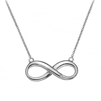 Ladies Silver Diamond Set Infinity Necklace
