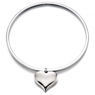 Ladies Silver Heart Charm Bangle