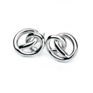 Ladies Silver Knot Earring Studs