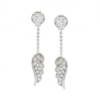 Ladies Silver Long Drop Angel Wing Earrings