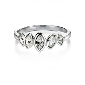 Ladies Silver Stone Set Marquise Row Ring