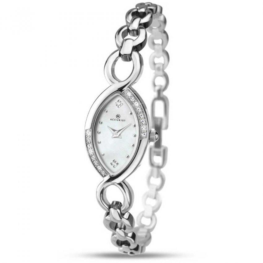 Accurist Ladies Stunning Classic Silver Tone Dress Watch 8047