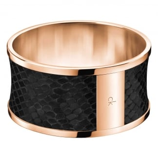 Ladies 'Spellbound' Rose Gold & Snake Print Bangle