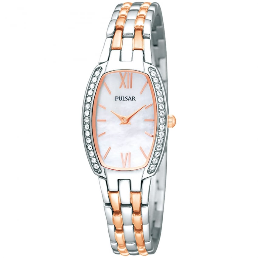 Pulsar Ladies Steel and Rose Gold Stone Set Watch PTA493X1
