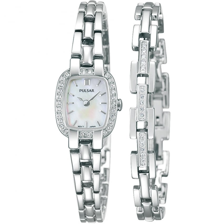 Pulsar Ladies Steel and Stone Set Watch PEGG41X2