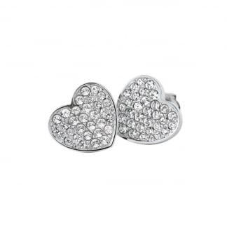Ladies Steel Stone Set Heart Studs