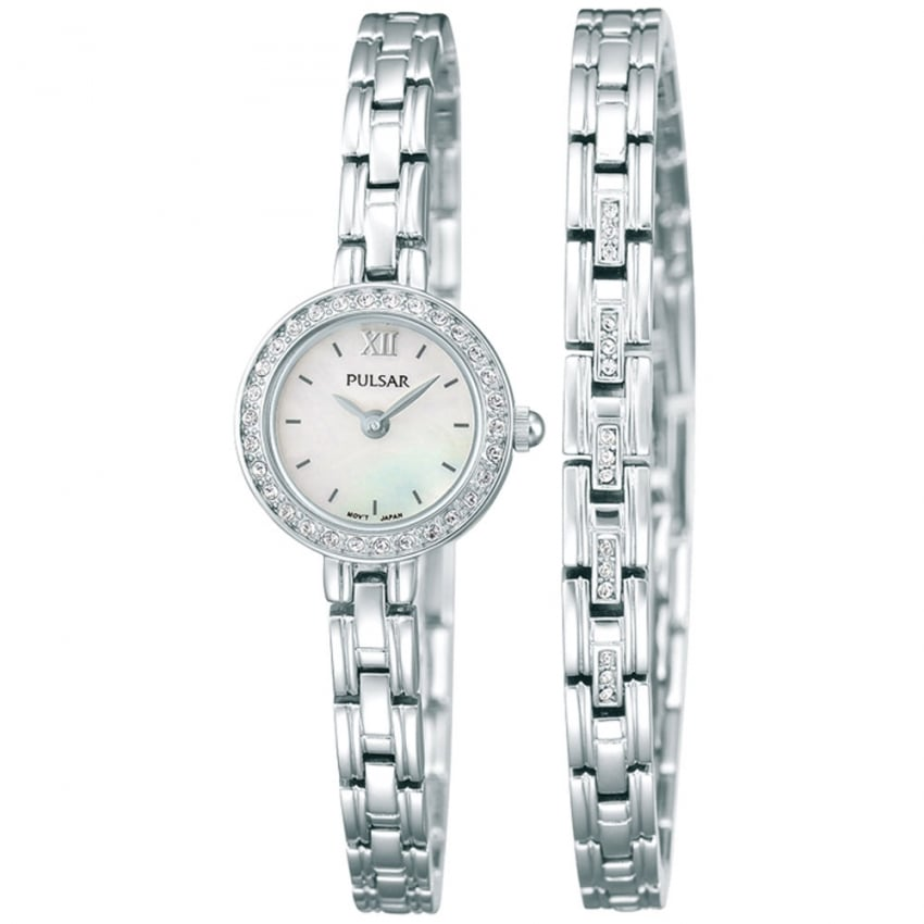Ladies Steel Stone Set Watch and Bracelet Set PEGG51X2