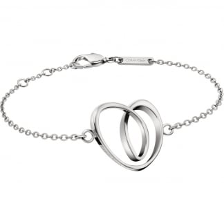 Ladies Steel Warm Crossover Heart Bracelet