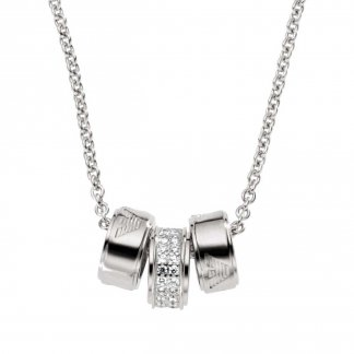 Ladies Sterling Silver Triple Ring Necklace EG3046040