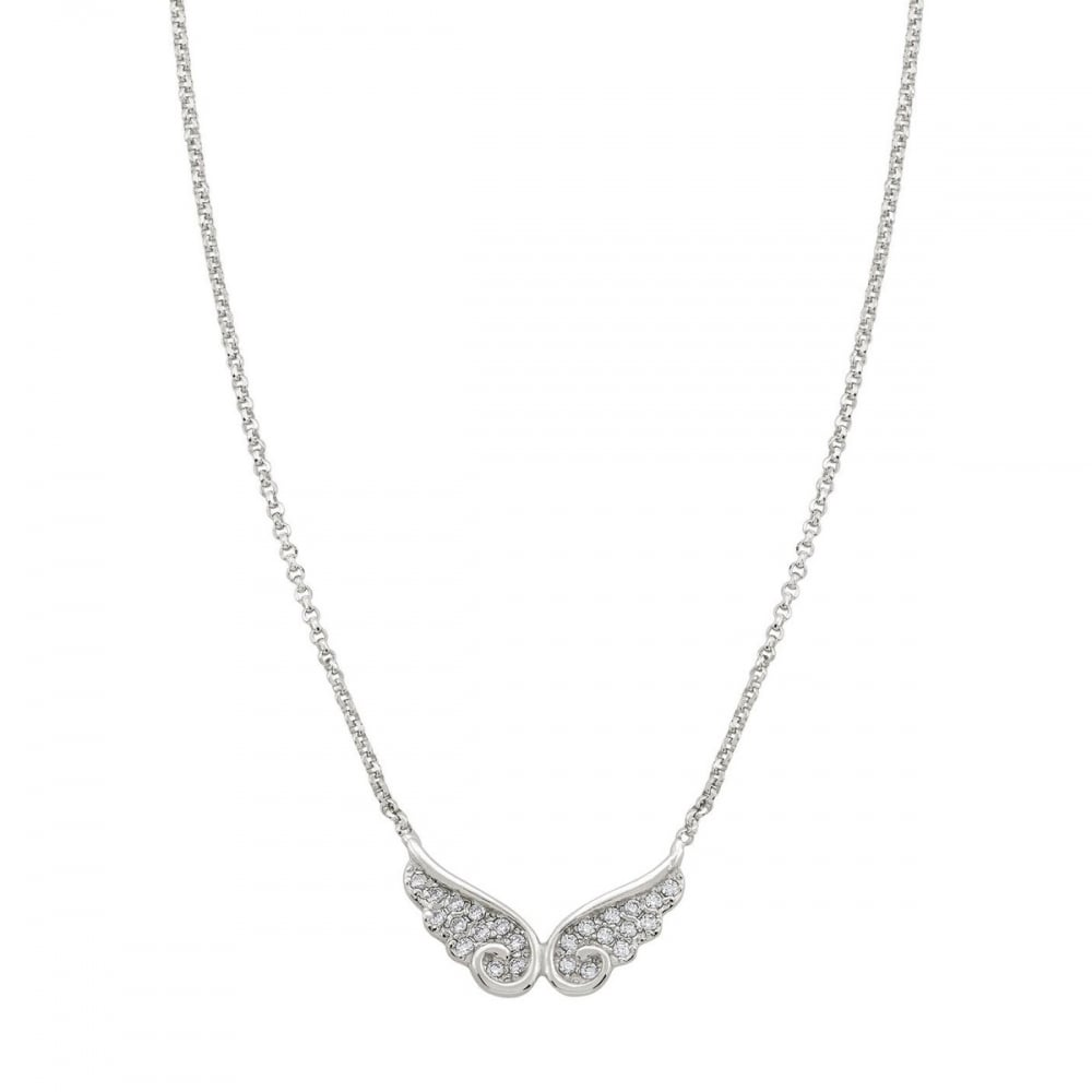 angel cz sterling pave product silver single wing necklace zirconia cubic