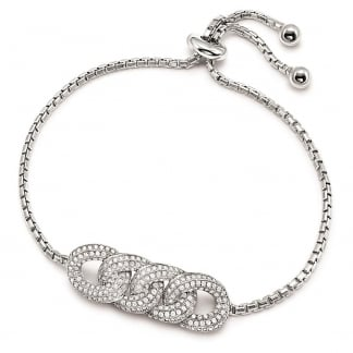 Ladies Stone Set Fashionably Silver Knot Bracelet