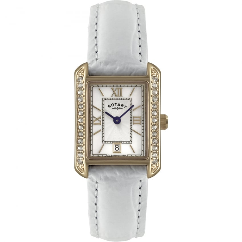 Ladies Stone Set Gold PVD White Strap Watch LS02652/41