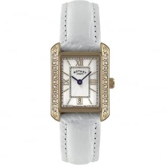 Ladies Stone Set Gold PVD White Strap Watch