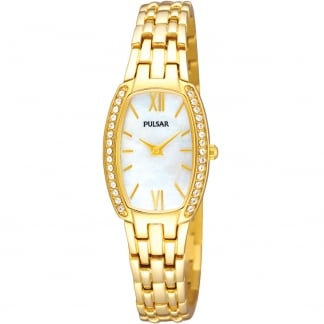 Ladies Stone Set Gold Watch