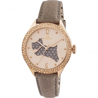 Ladies Stone Set 'Great Outdoors' Leather Strap Watch