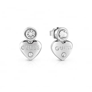 Ladies Stone Set 'Guessy Heart' Earrings