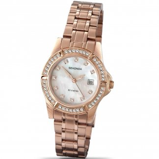 Ladies Stone Set Mother of Pearl Dial Watch