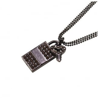 Ladies Stone Set Padlock and Key Necklace