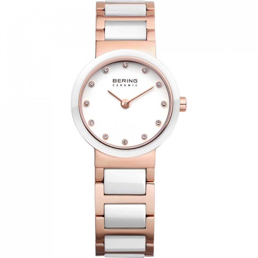 Bering Ladies Stone Set Rose PVD & White Ceramic Watch 10725-766
