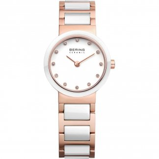 Ladies Stone Set Rose PVD & White Ceramic Watch