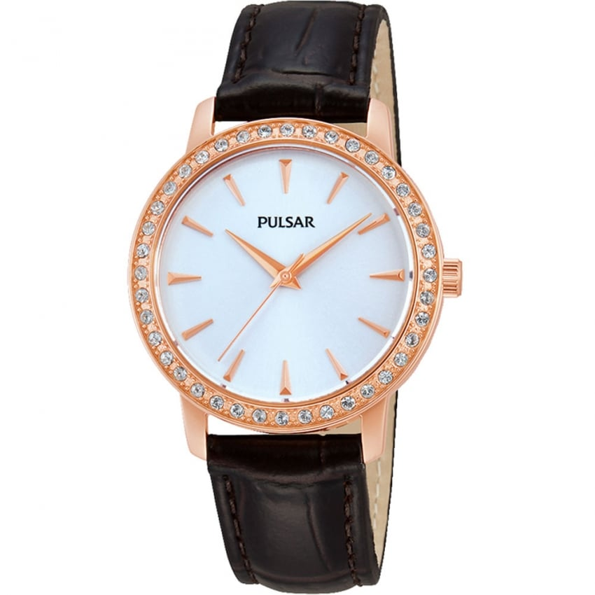 Ladies Stone Set Rose Gold and Black Leather Strap Watch PH8114X1