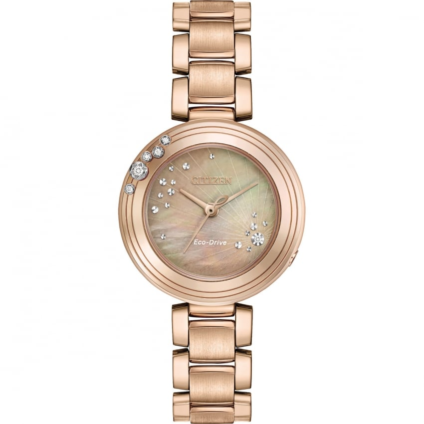 Citizen Ladies Sunrise Rose Gold Diamond Eco-Drive Watch EM0463-51Y