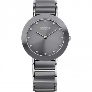 Ladies Swarovski Set Steel & Grey Ceramic Watch