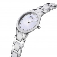 Bering Ladies Swarovski Set Steel & White Ceramic Watch 32327-701