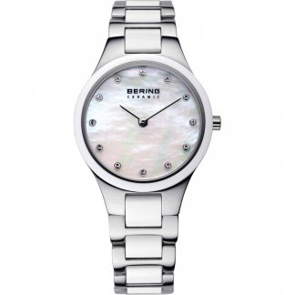 Ladies Swarovski Set Steel & White Ceramic Watch