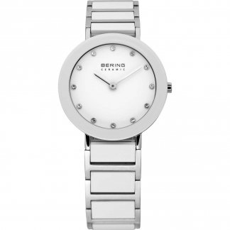 Ladies Swarovski Set White Ceramic & Steel Watch