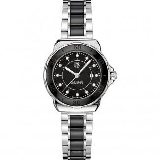 Ladies Formula 1 Diamond Inlaid Steel & Black Ceramic Watch