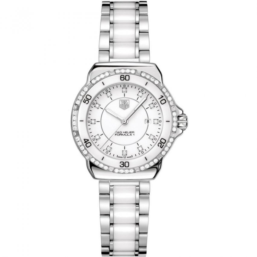 TAG Heuer Ladies Formula 1 Diamond Steel & White Ceramic Watch WAH1313.BA0868