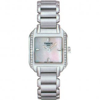 Ladies Diamond Set Mother of Pearl Dial Wave Watch T02.1.385.71