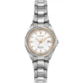 Ladies Titanium Eco-Drive Watch With Rose Gold Detail