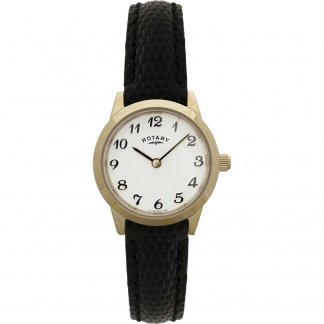 Ladies Traditional Classic Leather Strap Watch
