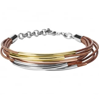 Ladies Tri-Tone Multi Leather Bracelet