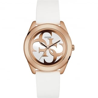 Ladies Twist White Leather Rose Gold Watch