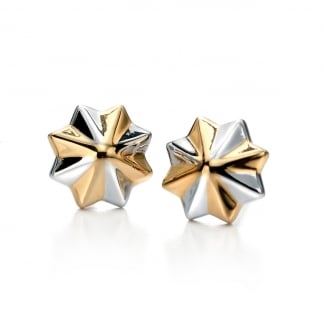 Ladies Two Tone 3D Star Earring Studs