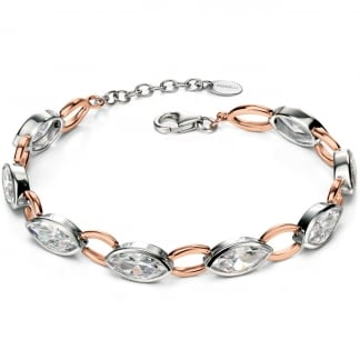 Ladies Two Tone and Cubic Zirconia Linked Bracelet