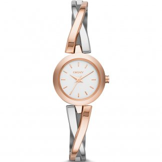 Ladies Two Tone Crosswalk Crossover Bangle Watch