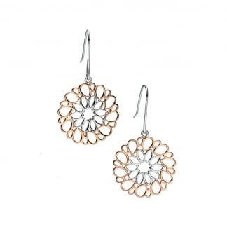 Ladies Two Tone Cut Out Flower Earrings