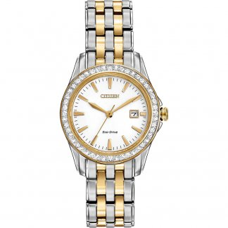Ladies Two Tone Silhouette Watch with Date Display