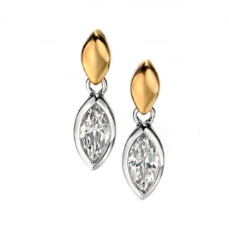 Ladies Two Tone Marquise and Cubic Zirconia Earring Drops