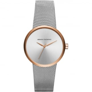 Ladies Two Tone Mesh Bracelet Watch