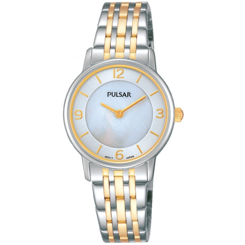 Pulsar Ladies Two Tone Mother of Pearl Dial Watch PRW027X1