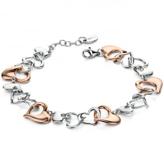 Ladies Two Tone Multi Interlocked Hearts Bracelet