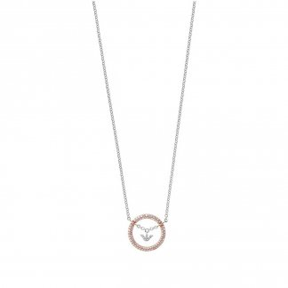 Ladies Two Tone Pure Eagle Circles Necklace EG3120221