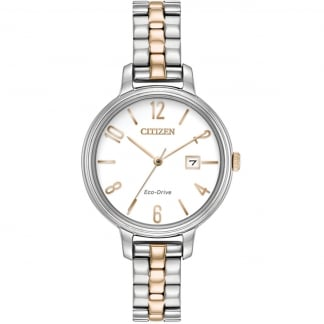 Ladies Two Tone Silhouette Eco-Drive Watch