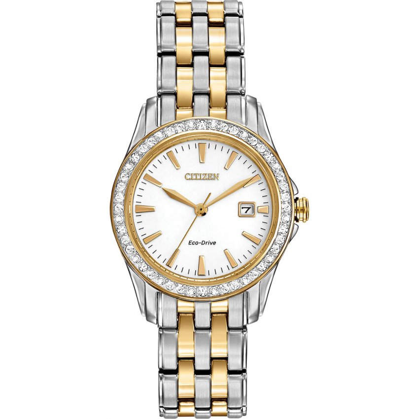Citizen Ladies Two Tone Silhouette Watch with Date Display EW1908-59A