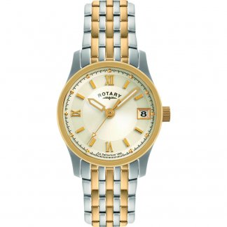 Ladies Two Tone Steel Watch with Date Window